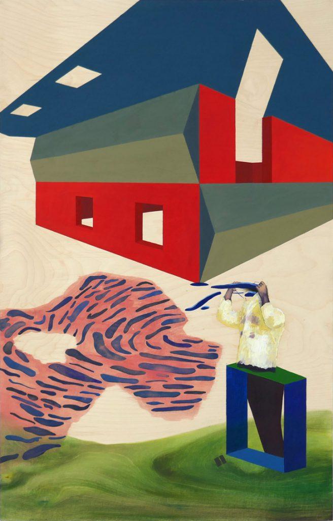 Leonora Prugger | Rohbau, 2017, 100x70 cm, Ölfarbe auf Holz