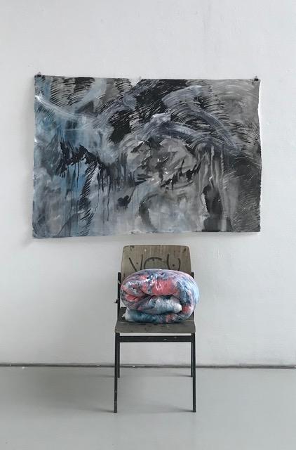 Muttersnacht, 2018, 100x 135cm, Acrylic auf Kinder Bettdecke, Koreanische Tint und Oil auf Hanji