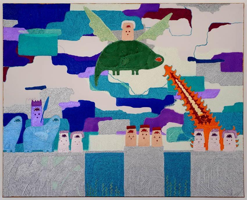 Leonie Elpelt | Hommage I, 2017 100x80 cm, Glitzerkleber auf Leinwand