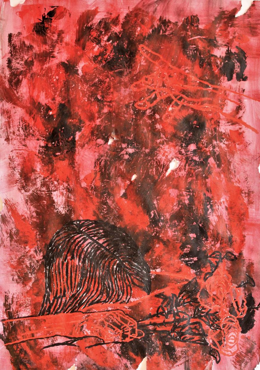 o.T., 2020, Acryl auf Papier, 42x59,4 cm