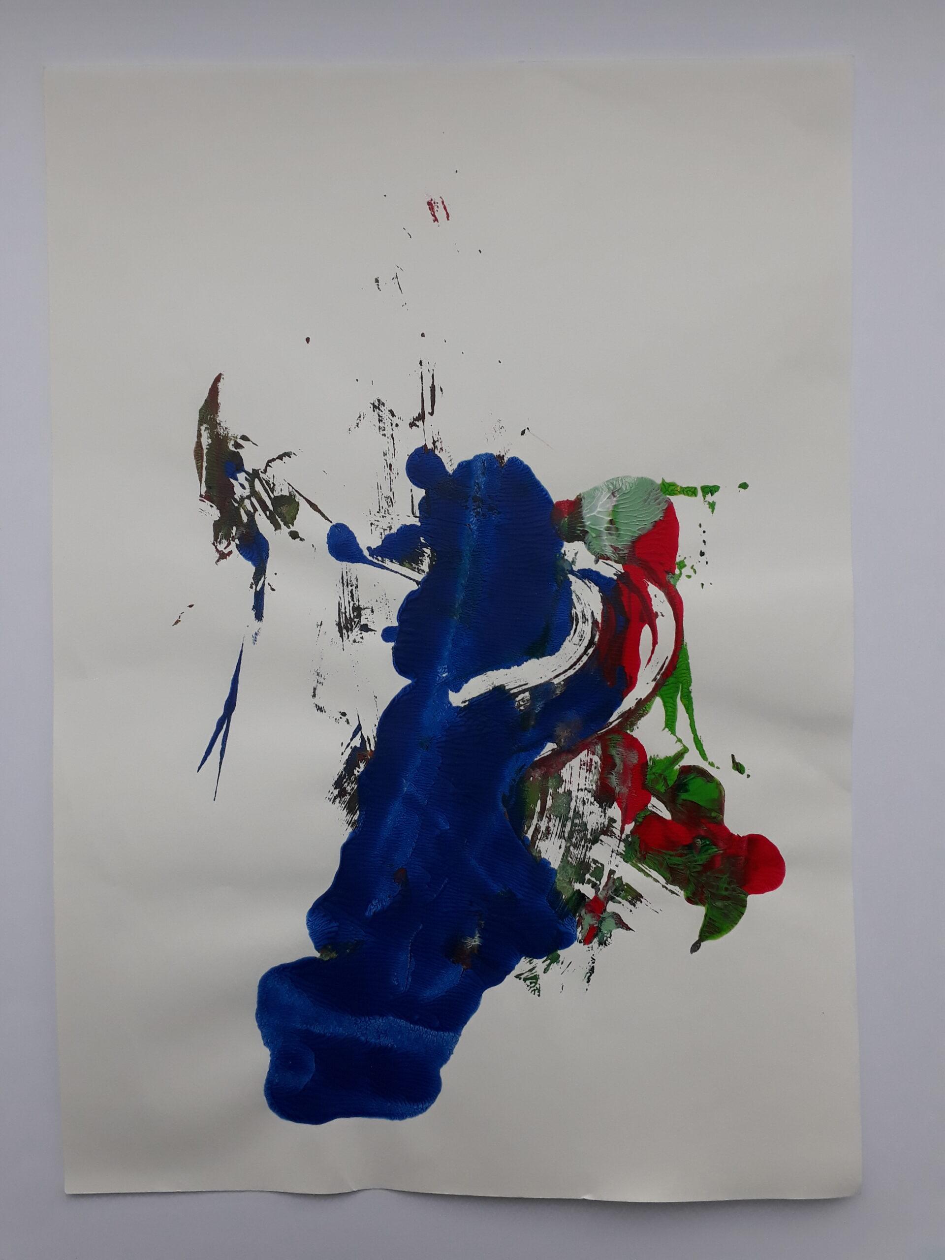 Deep Water Solo, 2019, Acryl auf Papier, 21x30cm