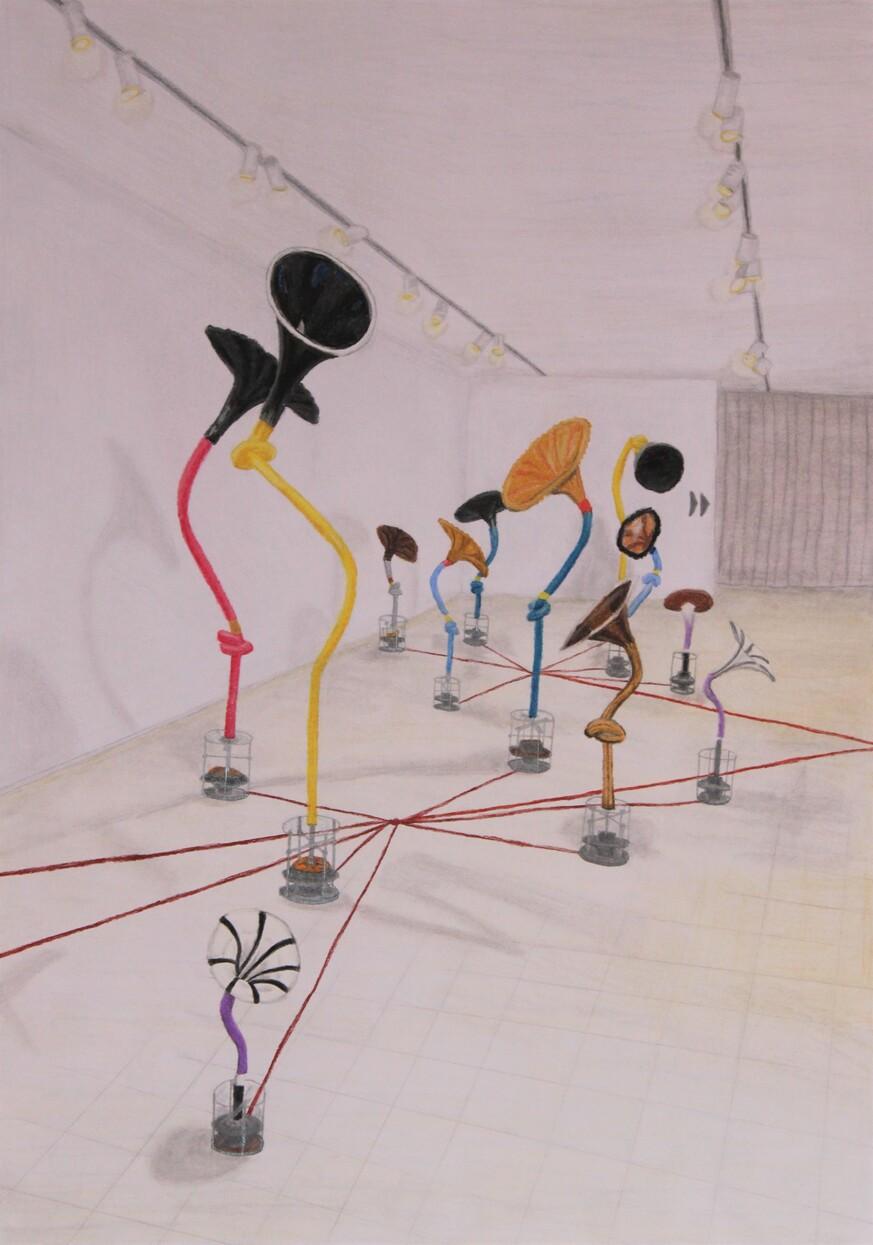 o.T., 2020, Pastellkreide, Bleistift auf Papier, 29,7x42 cm